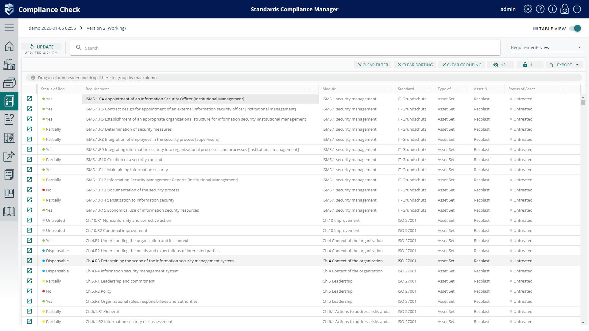 Infopulse SCM Compliance check grid