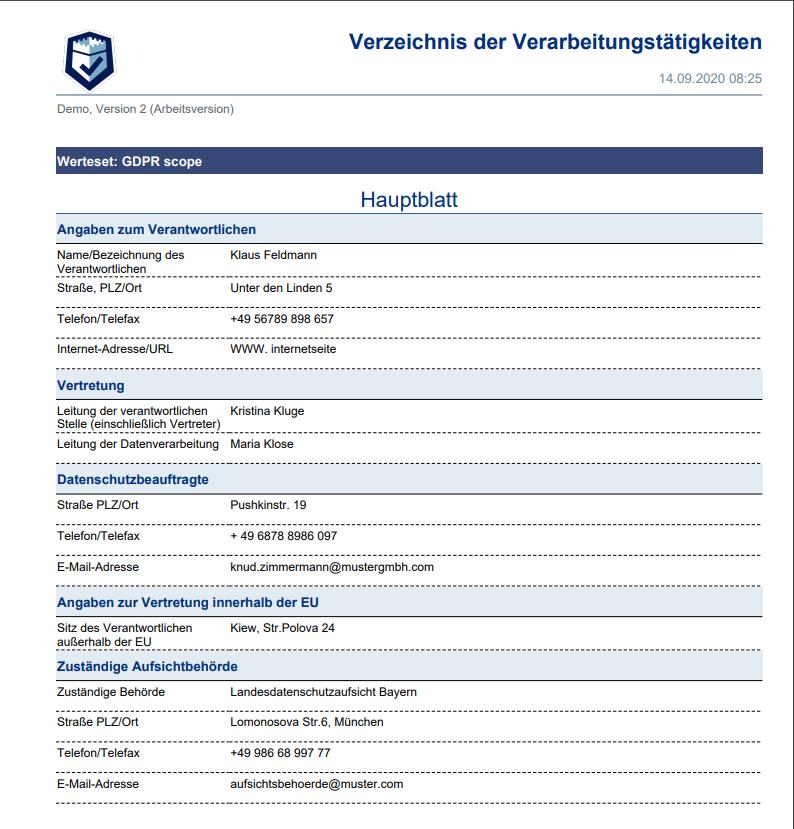 DSGVO Verzeichnis von Verarbeitungstätigkeiten